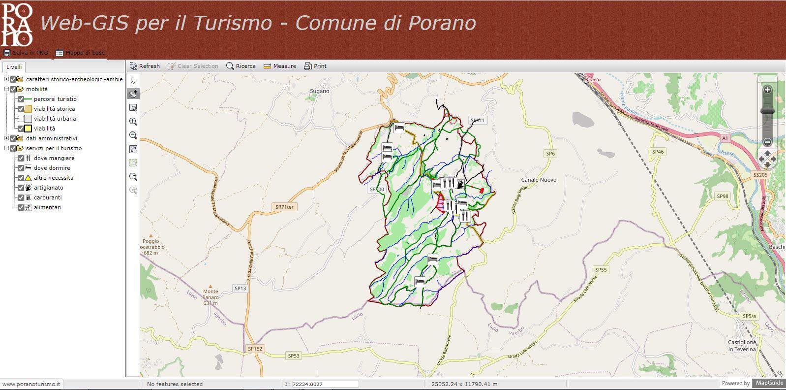 WEB-GIS portale turistico Comune di Porano TR
